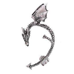 Wholesale Earring Clips Vintage - SHUANGR New Fashion jewelry Retro Vintage Punk Temptation Metal Dragon Bite Ear Cuff Clip Wrap Earring
