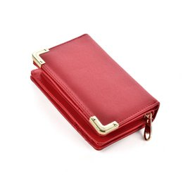 Wholesale Zipper Side Bag - Short Vintage Lady Wallets Holders Black Plain Simple Hasp Clutch Bag Both Sides Credit Card Package Multi-bit Fashion Coin Purse VKP1446