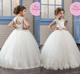 Wholesale Little White Corset Wedding Dress - 2017 Little Girls Princess Ball Gown Tulle Flower Girls Dresses Sheer Crew Neck Lace Appliqued Corset Back Communion Toddler Kids Wear