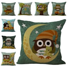 Wholesale Owl Linen Cushion - Cartoon Best Friends Owl Throw Pillow Cases Cushion Cover Pillowcase Linen Cotton Square Pillow Case Pillowslip 240522