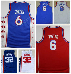Wholesale Red Dr - Men 6 Dr J Julius Erving Jersey Sport Basketball 32 Julius Erving Throwback Jerseys Vintage Stitching Blue White Red Quality Free Shipping
