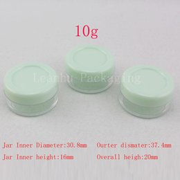 Wholesale Lip Balm Tin Containers - 10g green small empty cosmetic packaging cream jar 10ml sample plastic bottles container , PS Mini cream container lip balm tin