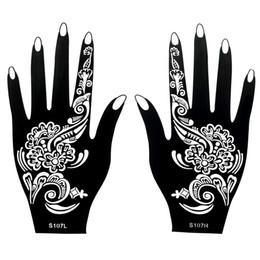 Wholesale Body Art Stencil - Wholesale- 1 Pair Classic Henna Body Hand Art Nontoxic Temporary Black Tattoo Ink Design Paint for Women Tattoo Sticker Henna Stencil S107