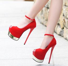 Wholesale Super High Platform Pumps - 16cm Sexy Women Ankle Strap Super Platform Pumps Black Red Prom Night Club Shoes Size 34 to 39
