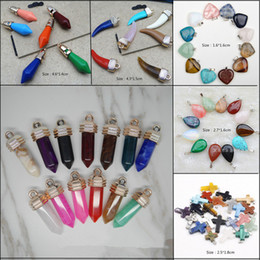 Wholesale Natural Quartz Rocks - Hot Gemstone Rock Natural Crystal Quartz Healing Point Chakra Stone Pendant Necklace Charms Loose Beads Fit Bracelets DIY Jewelry Findings