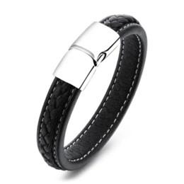 Wholesale Magnetic Bangle Male - MOZO FASHION Men Black Leather Bracelet Stainless Steel Magnetic Buckle Bracelets & Bangles Male Punk Jewelry Pulseras MPH1101