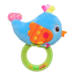 Wholesale Birds Plush Toys - Wholesale- 1*0-3 Year Baby Plush Hand Bell Teether Rattles Owl Bird Animals Educational Bed Toys Gifts for Newborns Development 0-12 Months