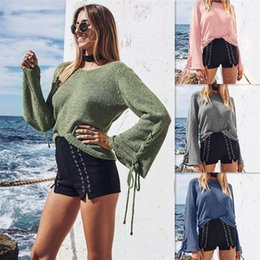 Wholesale Bell Sleeve Xl - Autumn New Style Women's Crew Neck Sweater Women's Knits Tops Tees Loose Plus Size Sweater 4 Colors Free Shipping