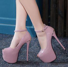 Wholesale Peep Toe Platform Heels - Red Bottom Ultra Platform High Heels 17cm Womens White Patent PU Leather Wedding Shoes Size 34 to 39