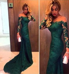 Wholesale ladies victorian dresses - Emerald Green Prom Dresses Lace With Long Sleeves Trumpet Style 2017 Special Occasion Party Gowns Victorian Ladies Eevening Party Gowns