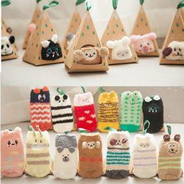 Wholesale Toddler Tube Socks Kids - Winter Warm Thick Socks For Kids Solid Cartoon Animals Baby Boy Girl Tube Sock Children Cotton Stocks Candy Color Toddler Floor Socks