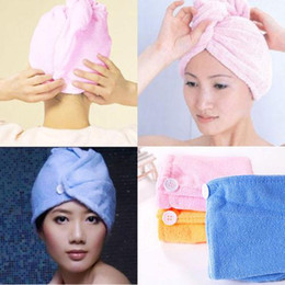 Wholesale Hair Drying Turban Towels - 600pcs Free Shipping Microfiber Magic Hair Dry Drying Turban Wrap Towel Hat Cap Quick Dry Dryer Bath make up towel