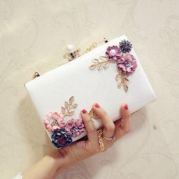 Wholesale White Pearl Clutch Bag - Wedding Bags 2017 flower day clutch pearl diamond banquet bag chain mini one shoulder cross-body women's handbag