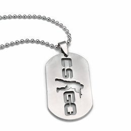 Wholesale Neckless Man - Wholesale-QY Hot Games CS GO Stainless Steel Link Necklace For Men CSGO Anime Neckless Male Collier Homme Best Friends Statement Bijoux