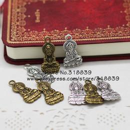Wholesale Wholesale Goddess Jewelry - Wholesale-Antique Metal Zinc Alloy Religious Buddha Charms Jewelry Goddess of Mercy Pendant Charms Making 30pcs lot 14*27mm 7070