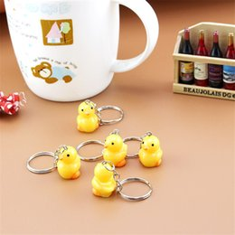 Wholesale Duck Collection - New Arrival Scale Yellow Q Duck Food Keyring Charm Pendant Resin Keychain For Purse Bag Car Party Wedding Gift Collection