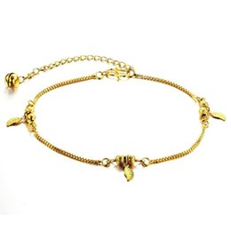 Wholesale Gold Leaf Supplies - Changjia supply wholesale fashion jewelry gold leaf plated 18 simple ladies Anklet KZ722