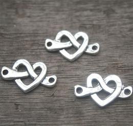 Wholesale Tibetan Love Heart Charms - 25pcs-Love Knot Charm Connectors, Antique Tibetan silver Classic Heart Style, Love heart pendants 33x13mm