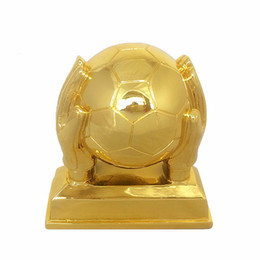 Wholesale Football Medal - Resin gold-plated football cup top scorer award The goalkeeper gold glove award trophies MEDALS goalkeeper trophy