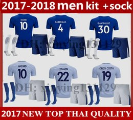 Wholesale Chelsea Footballs - men full Set + Socks 17 18 Chelsea home soccer jersey 2017 2018 HAZARD KANTE DIEGO COSTA FABREGAS DAVID LUIZ away football shirt