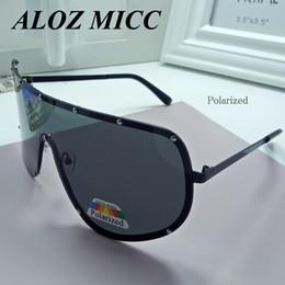 Wholesale Frameless Eyeglass Frames - ALOZ MICC Brand Sunglasses For Men Polarized Oversized Frame Alloy Metal Glasses Designer Sunglasses Women Hot Eyeglasses UV400 A055