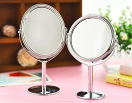 Wholesale Double Magnifying Glass - European double-sided enlargement desktop rotary beauty mirror small portable portable makeup mirror trumpet high-definition makeup mirror