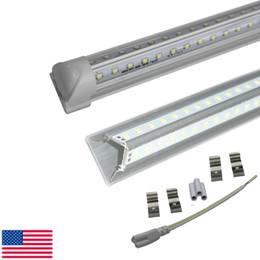 Wholesale Door Dual - V-Shaped Cree LED tube light 4 foot 5ft 6ft 8ft bulbs Cooler Door T8 Integrated Tube Dual Row SMD2835 Led Fluorescent Lights 85-265V