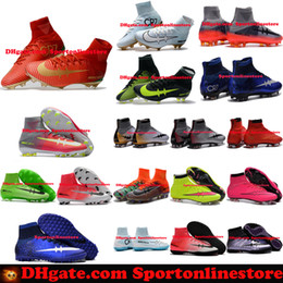 Wholesale Mens Sneakers Spikes - Kids Soccer Cleats CR7 Cristiano Ronaldo Mens Mercurial Superfly FG TF Football Boots Women High Top Soccer Sneakers Shoes Youth Turf Pink