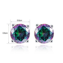 Wholesale Sterling Silver Mystic Topaz Earrings - Wholsale Fashion Jewelry Women Solid 925 Sterling Silver Charms Stud Earrings Fire Mystic Topaz Rainbow Magic Green Round Zircon On Stock