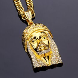 Wholesale Thick Gold Necklaces - Europe and the United States classic big Jesus head hip hop necklace pendant HIPHOP street skateboard jewelry quality thick gold plating
