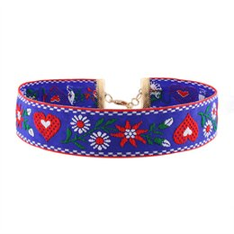 Wholesale Flower Designs For Tattoos - Europe Design Choker Necklace Bohomian Ethnic Embroidery Rose Flower Handmade Gothic Tattoo Collar Necklace For Women Jewelry HD-188