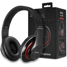 Wholesale Wholesale Sport Headbands - P15 Bluetooth Headphones Wireless Sports Earphones On-ear Stereo Headsets Support TF Card For Phones Laptops with Retail Package