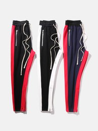Wholesale Taper Pants Man - High Street 3 colors fear of god side stripe track pants anke zip and zipper pocket tapered sweatpants joggers slim fit