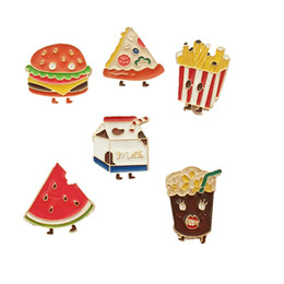 Wholesale Free Pin Buttons - Wholesale- free shipping 6pcs  lot new style enamel metal hamburger pizza french fries milk watermelon corsage button pin