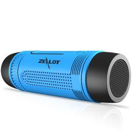 Wholesale Portable Flashlight Radio - Bluetooth Speaker Zealot S1 Portable Waterproof Outdoor Wireless Speaker With LED Flashlight Support TF FM Radio For Phones PC