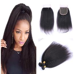 Canada Kinky cheveux raides avec des faisceaux Grade 8A Big Yaki brut Remy indien cheveux avec 4 * 4 fermeture de lacet cheveux humains livraison gratuite cheap indian kinky straight Offre