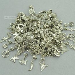 Wholesale European Mixed Tibetan Silver - Wholesale- New 50pcs mixed wholesale metal charms tibetan silver big hole bead charm pendants fits European bracelets jewelry making 3121