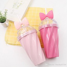 Wholesale Custom Candies - Custom Candy Color New Vogue Portable Outdoor Travel Mugs Cup 400ml PS Plastic , Bow tie candy color thread pattern water bottles