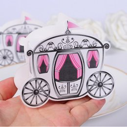 Wholesale Wholesale Carriage Boxes - Wholesale-100pcs lot Romantic Fairy tale Favors Gifts Baby Shower Wedding Candy Box Cinderella Pumpkin Carriage wedding decoration mariage