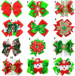Wholesale Babys Flower Headbands - Hot christmas hair bows clips accessories for children girls fashion kids babys cute flower Bowknot Hairpin hairclip hairbow for xmas party