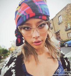Wholesale Wholesale Clear Designer Frames - Wholesale- HBK 2016 New Cat eye Brand Designer Sunglasses Women FeMale Fashion Metal Gold Frame Lady Sun Glasses Retro Eyewear Clear Lens