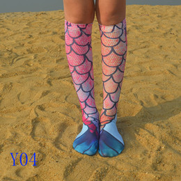 Wholesale Sexy Stocking Socks - kids socks Mermaid Printing Stocking Socks Fashion Sexy Cartoon Cosplay Costume Bottoming Fish Long Socks To Knee