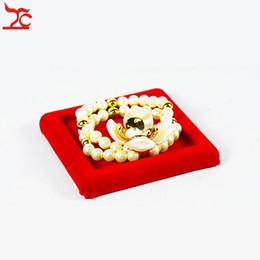 Wholesale Chain Bangle Holders - Direct Sale Jewelry Display Stand Velvet Bracelet Bangle Jade Bead Chain Organizer Display Stand Holder Tray 9*9*1cm