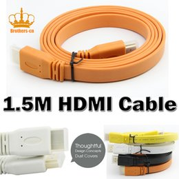 Wholesale Dvd Cables - Color Flat HDMI Cable 1.5m Wire 1.4 Version 24K for Video Hd Digital TV Plasma DVD Computer