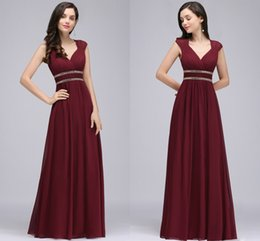Wholesale Simple Flowing Wedding Dresses - Burgundy New Designer Long Prom Dresses Cap Sleeves A Line Chiffon Formal Evening Gowns with Crystal Flow Wedding Guest Dresses CPS725