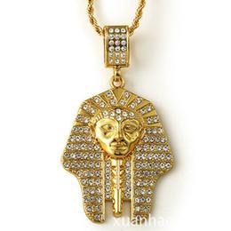 Египетские золотые прелести онлайн-Позолоченные Мужчины Женщины Очарование Рок Египетский Фараон Ожерелья Bling Древний Король Подвески Хип-Хоп Ювелирные Изделия Подарки Цепи