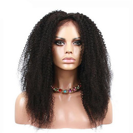 Wholesale Mongolian Baby Curl Hair - Africa american lace wigs high quality 1b afro kinky curl human hair wig baby hair around free shipping
