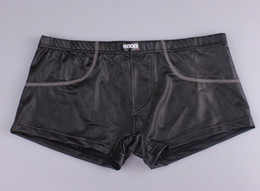 Wholesale Leather Underwear Wholesale - J416 Wholesale JQK Mens Leather Boxer Shorts.Mans Sexy Underwear,Free Shipping!