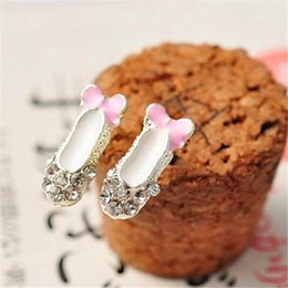 Wholesale Rhinestone Dance Earrings - Charm Mini Ballet Dancing Shoes Stud DHL Diamond Earrings Cosplay Party Fashion And Lovely Exquisite Jewelry Ear Accessories