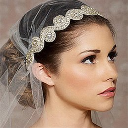 Wholesale Sparkle Round Bead - Bling Bling Bridal Headpieces 2017 Sparkling Rhinestones Wedding Headpiece Hairbands With Beads Cheap Fascinators For Party Hot Sale